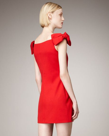 cf5258c617d4 Valentino Bow-Sleeve Dress in Red