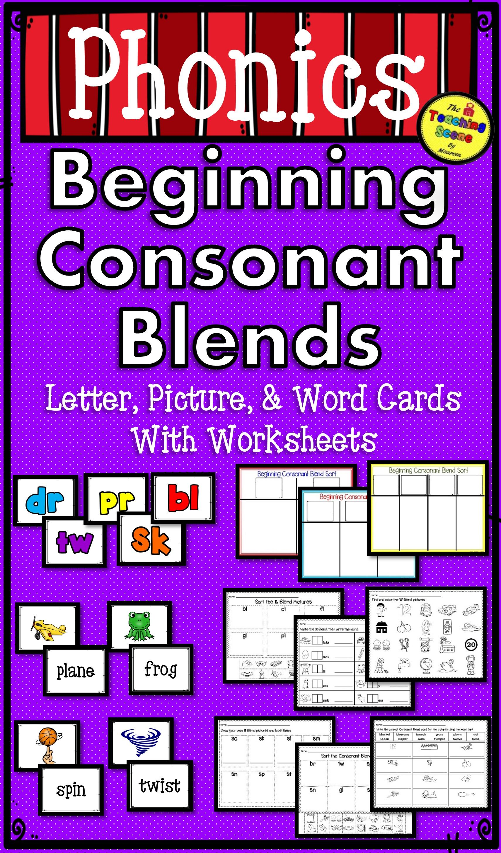 Beginning Consonant Blends Packet Letters Pictures