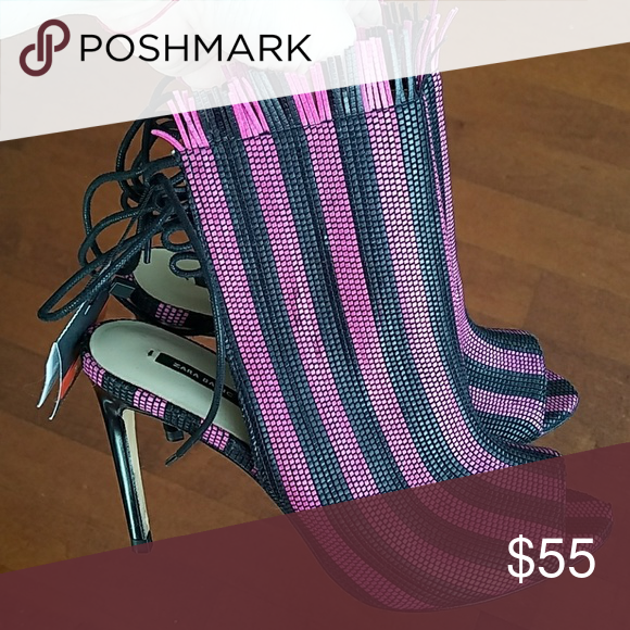 Details about New With Tags Zara Women Black Mesh Pink Striped High Heels Shoes Size 7.5