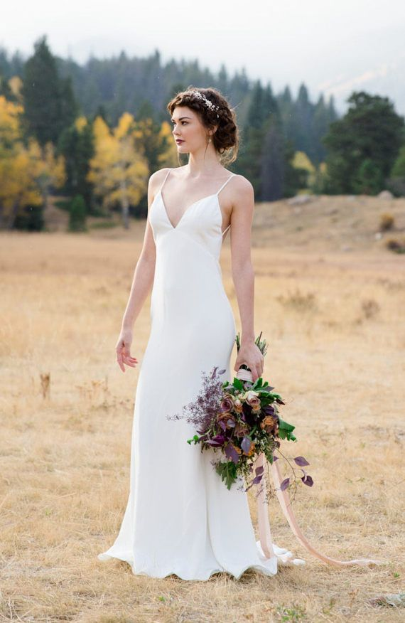 Silk Crepe Sheath Wedding Gown with train the Calista CUT | Show ...