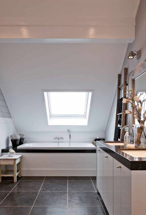 Must incorporate a skylight above bathtub bloomfield for Small bathroom with sloped ceiling