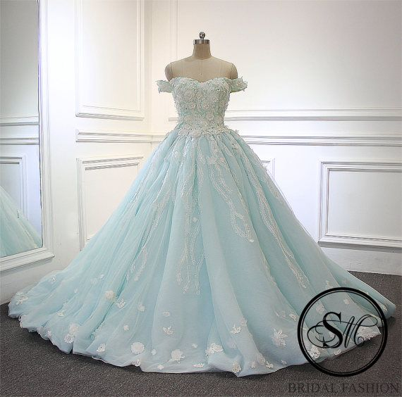 Mint Sky Blue Sweetheart Neckline Off Shoulders Ball Gown Lace Up ...