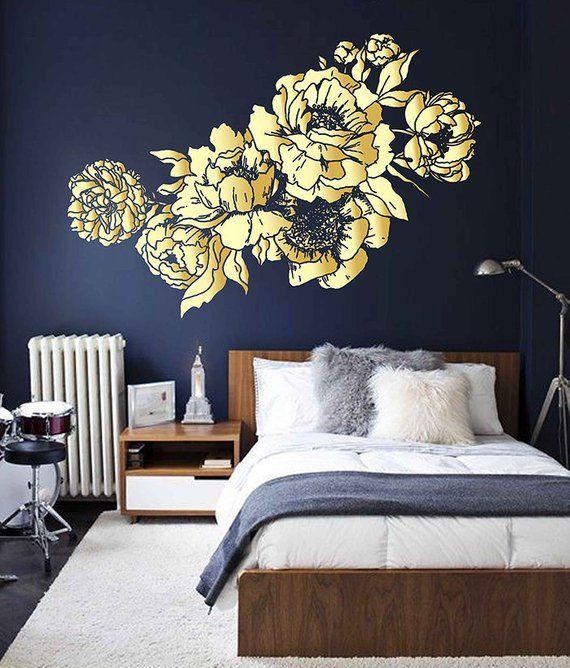 Peony Wall Decal Peony Flowers Wall Sticker Vintage Peony Wall Stickers gold Peony Wall Decals Wall Decor ik3523
