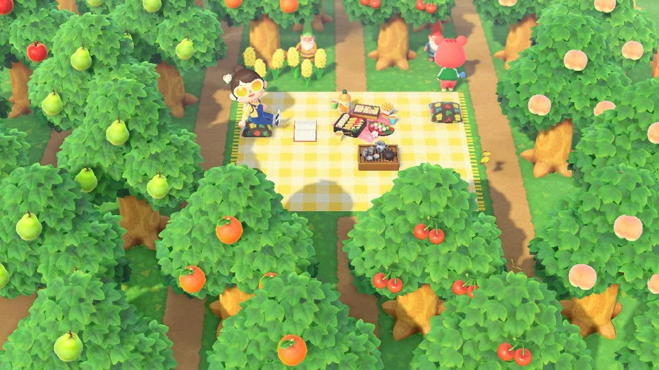 Put A Hidden Picnic Area Deep In My Orchard Ac Newhorizons Animal Crossing Game Animal Crossing Pc Animal Crossing