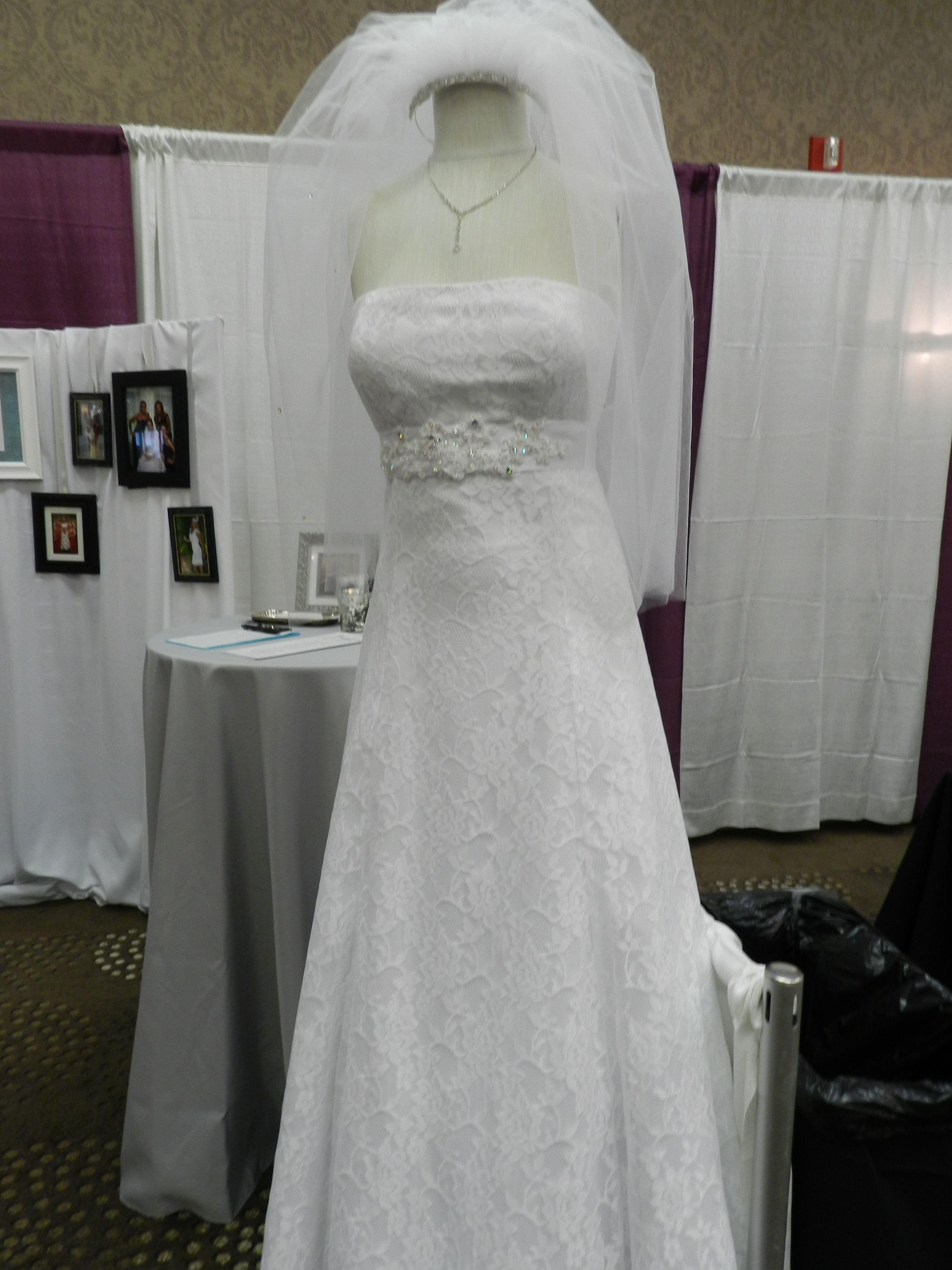 Beautiful custom made lace wedding dress and veil wedding