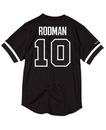 11d16d5f280 Mitchell   Ness Men s Dennis Rodman Detroit Pistons Black   White Mesh Name  and Number Crew Neck Jersey - Black L