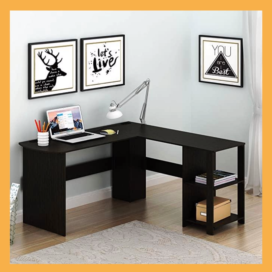 Photo of Home Office Corner Desk Wood Top