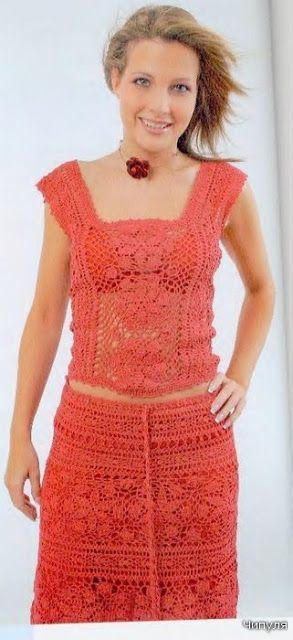 Peach color crochet top and skirt diagram pattern