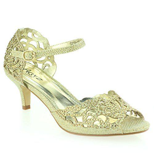 01493c43b AARZ LONDON Women Ladies Opentoe Diamante Mid Heel Evening Wedding Party  Sandals Shoes Size Look bright