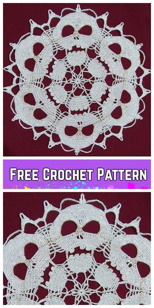 Crochet Skull Doily Free Crochet Patterns Crochet Pinterest