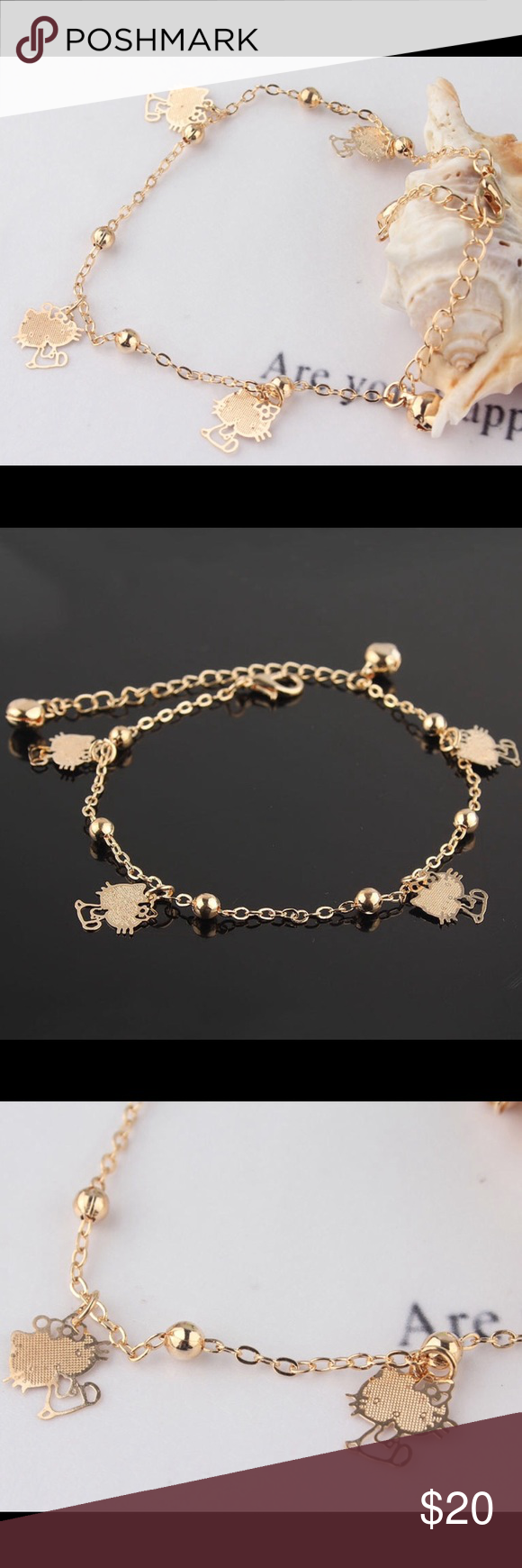 HELLO KITTY Anklet Beautiful! Hello Kitty gold tone anklet ...