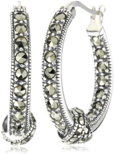 ce72d7779 Judith Jack Sterling Silver Marcasite Pave Knot Hoop Earrings ...
