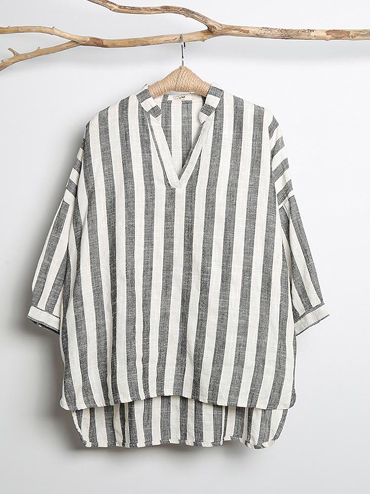 f7354a1f98afa Women V-neck Long Sleeve Casual Loose Stripe Blouses  Sleeve  Long  Loose   Blouses  neck  Casual  Women  Stripe
