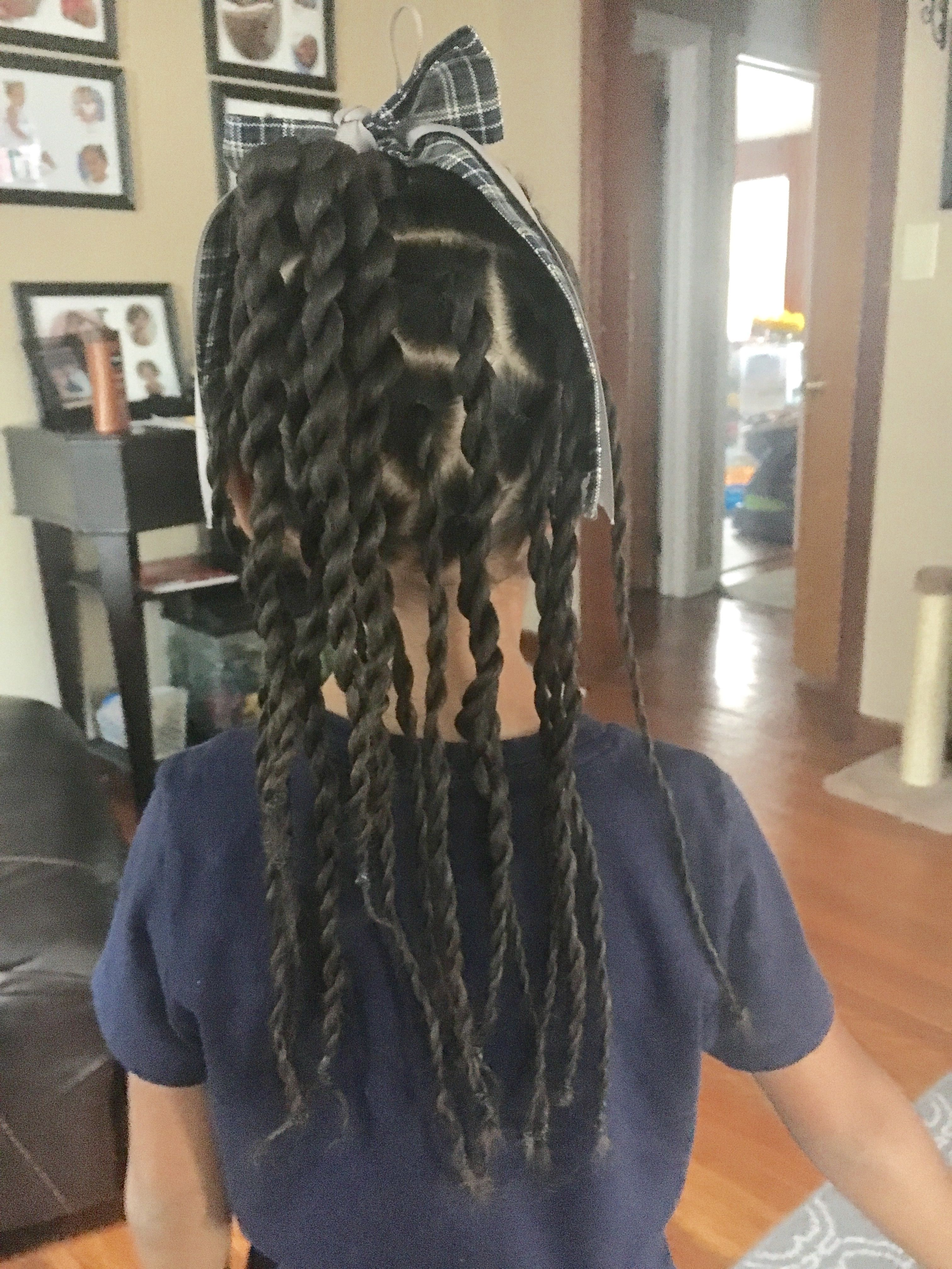 Bows and twist for back to school braids biracial girl styles
