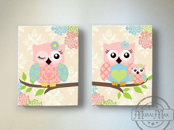 Kids Wall Art Owl Nursery Baby Decor By Muralmax 102 00
