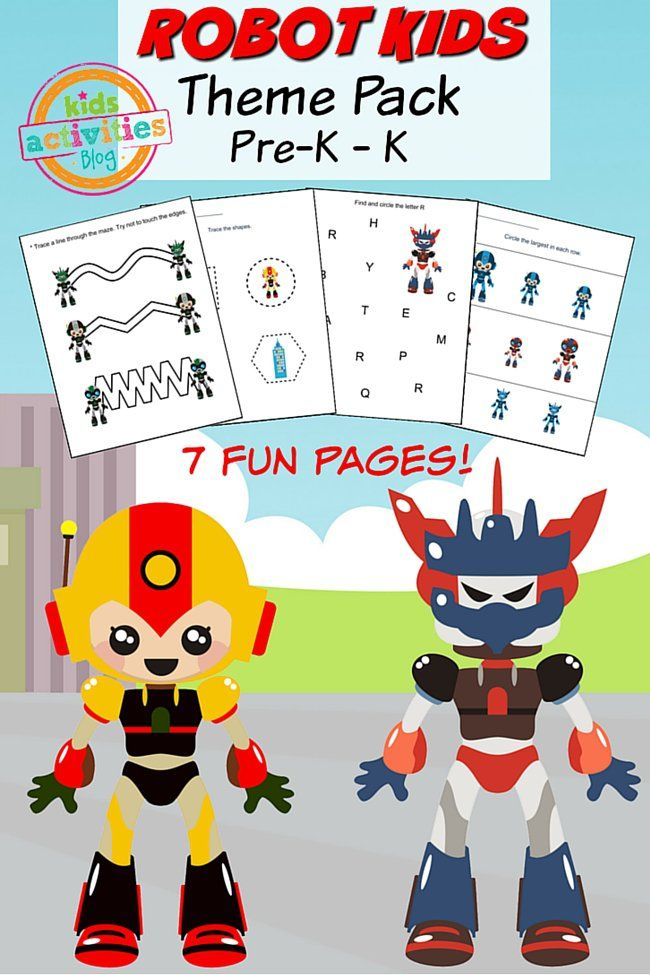 robot printable preschool worksheet pack