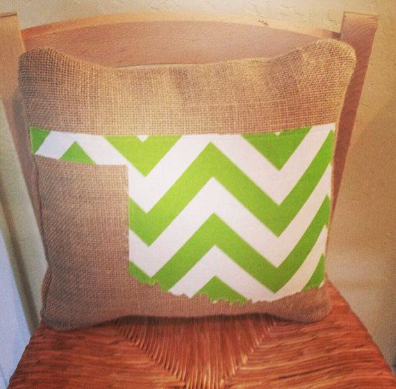 Burlap Chevron State Applique Pillow by BlueWhiteDesigns on Etsy, $30.00