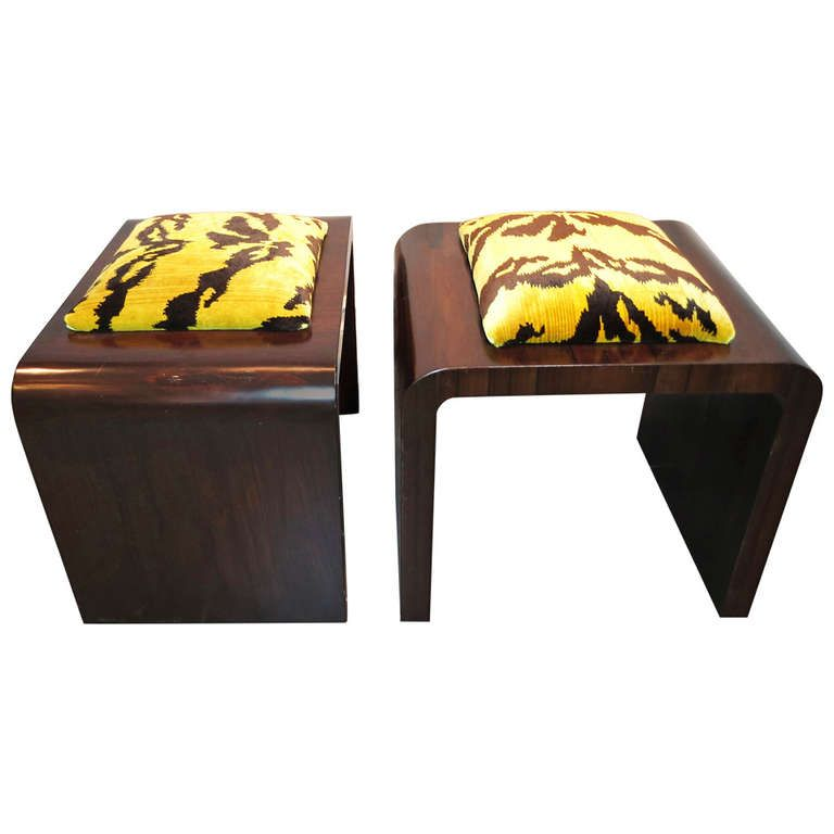 Gorgeous Pair of Art Deco Upholstered Stools/Benches | From a unique ...