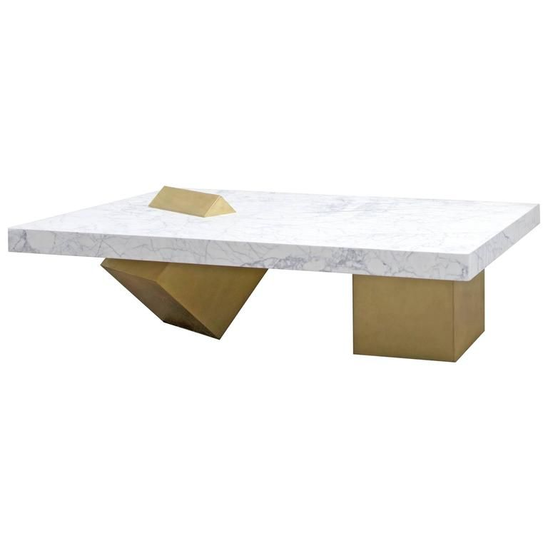 Coexist Marble And Brass Coffee Table By Slash Objects Made In Usa