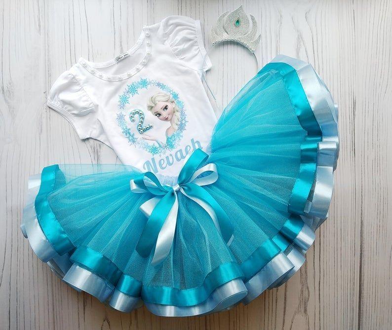 Frozen Outfit Toddler Girl 5th Birthday Girls Tutu Etsy