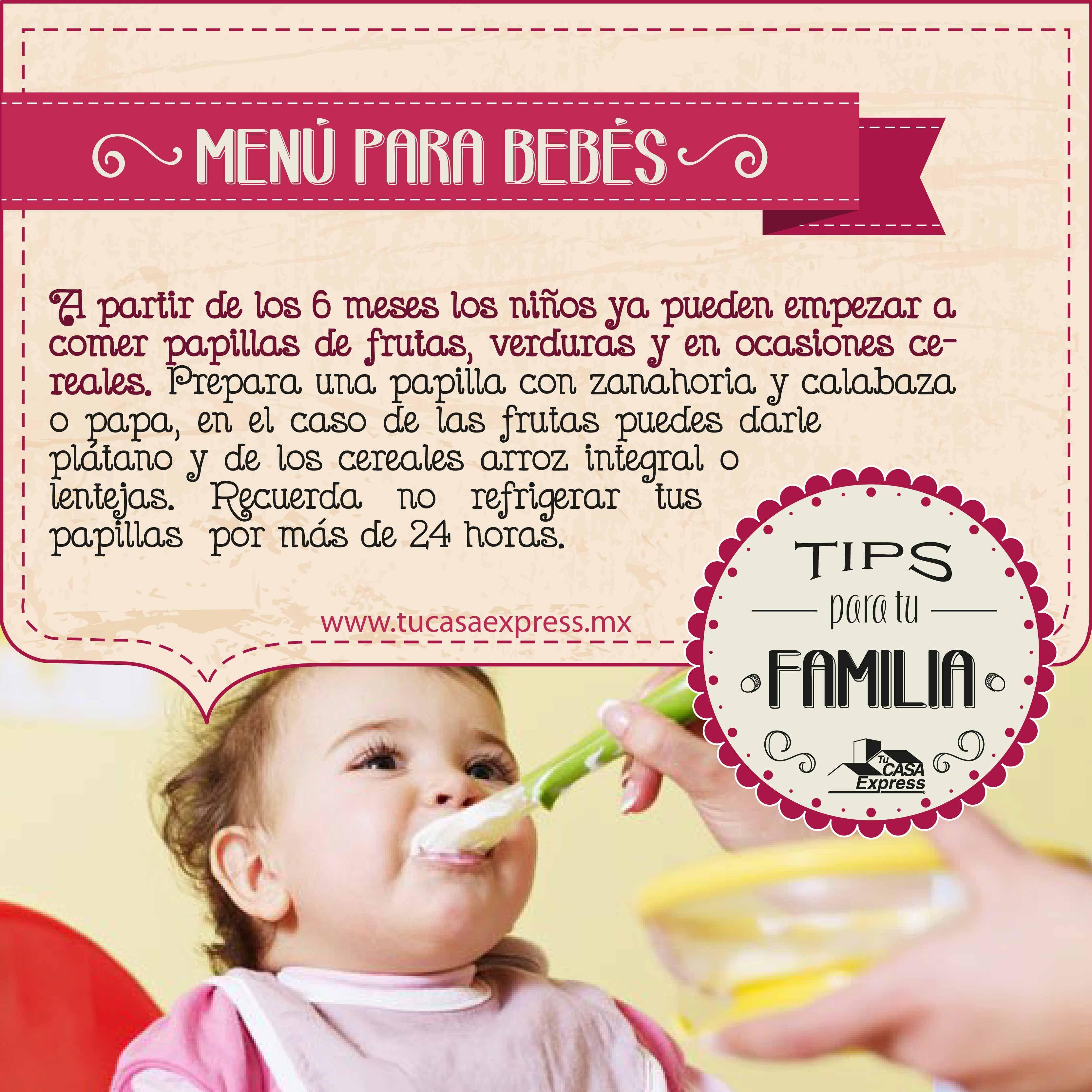 Men para beb s alimentos que puedes darle a partir de los 6 meses tips de hogar pinterest - Alimentos bebe 8 meses ...