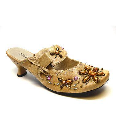 Love this Beige Bead-Embroidered Kitten Heel on #zulily! #zulilyfinds
