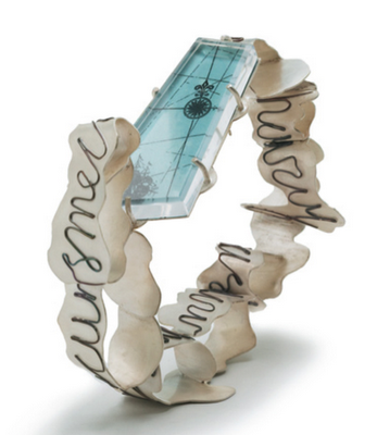 When Water Spills Over (bracelet); 2006; Sterling silver, plastic, copper and image - by Nicole Polentas