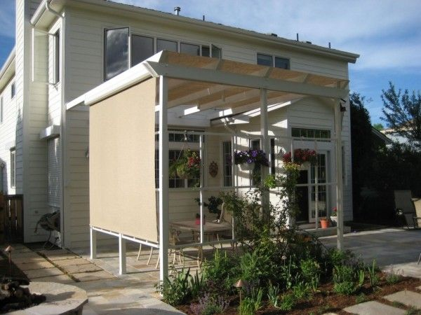 Awesome Shade Sail Patio Covers With Wooden Deck Privacy Railing .