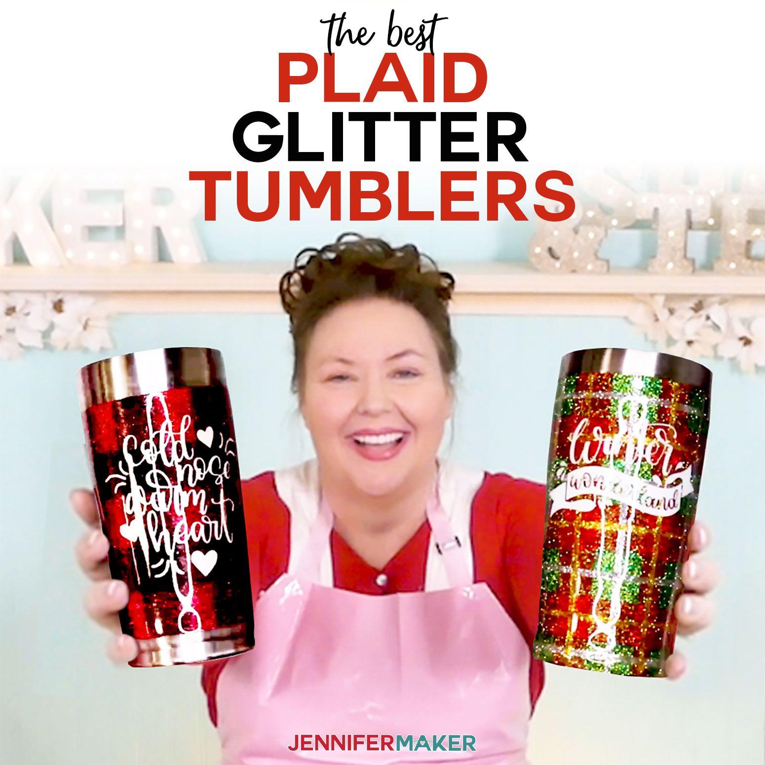 Plaid Glitter Tumbler Tutorial + Free Tumbler Decals Diy
