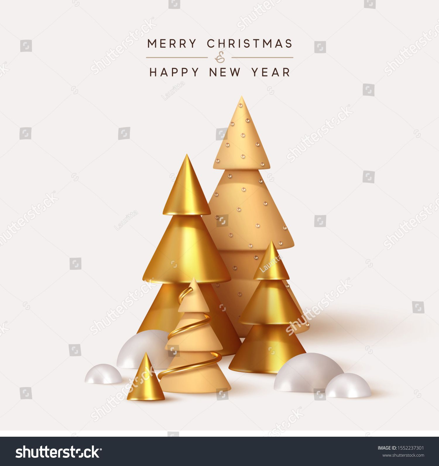 Abstract Minimal Background With Golden 3d Christmas Trees New Year Cone Shape Trees Xmas Decorative Ornaments In 2020 3d Christmas Tree Minimal Background Abstract