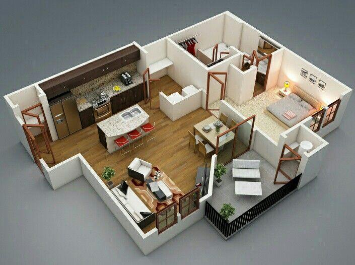 Pinnikita Debeau On In&exterior  Pinterest  House Alluring 1 Bedroom Apartment Design Ideas Decorating Design