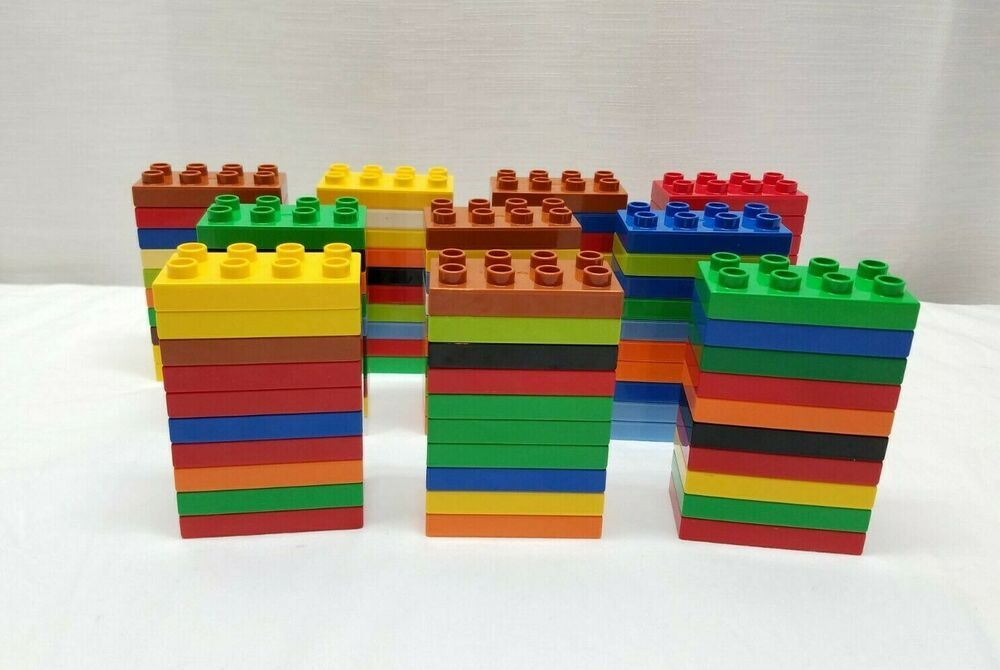 100 Lego Duplo Building Brick Toy Lot Plate 2x4 Blue Orange Green Yellow Red Lego In 2020 Lego Duplo Lego Red Green Yellow