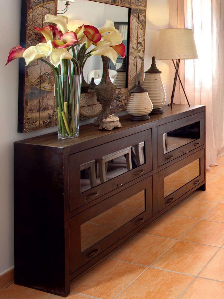 Aparador kitui forja y tapa en madera de sesamo medidas 183x38xh87 muebles pinterest madrid - Muebles tapa tapa ...