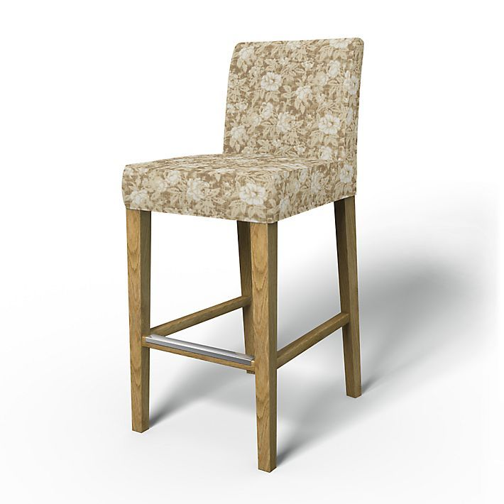 Henriksdal, Chair Covers, Bar stool, Regular Fit using the fabric True Rose Caffe Latte