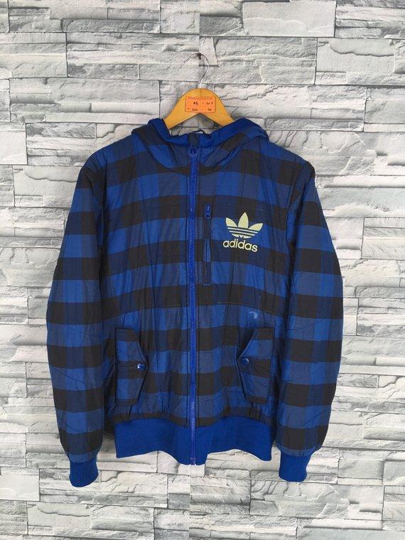 ADIDAS Jacket Small Vintage 90's Adidas Trefoil Checkered