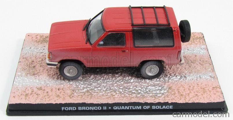 EDICOLA BONDCOL103 Skala: 1/43  FORD USA BRONCO II 1989 - 007 JAMES BOND - QUANTUM OF SOLACE RED Skala:: 1/43 Zustand: M Code: BONDCOL103 Farbe: RED Material: Die-Cast