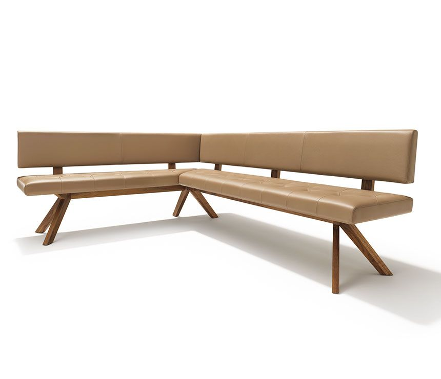 Front View Of The YPS Corner Dining Bench Shown In Brown Leather And Solid  Walnut Wood