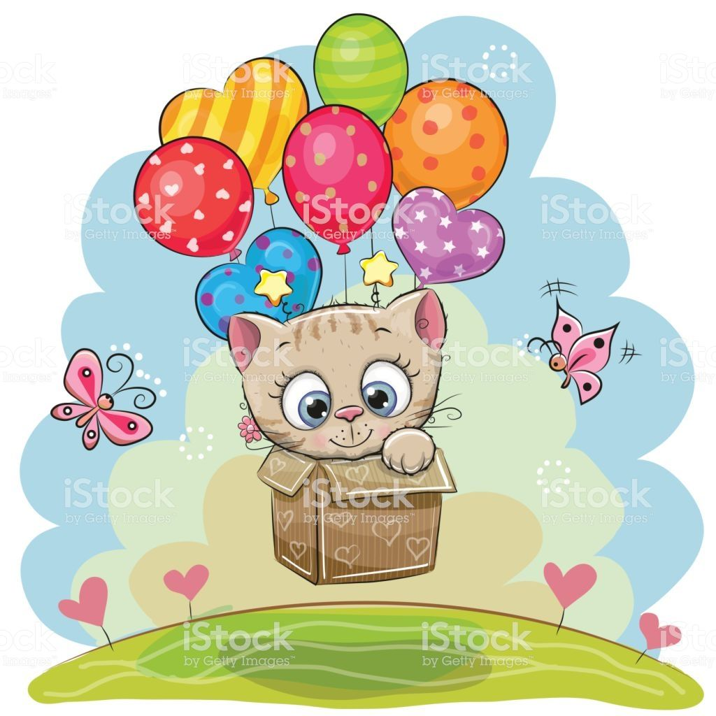 Cute Cartoon Kitten in the box is flying on balloons