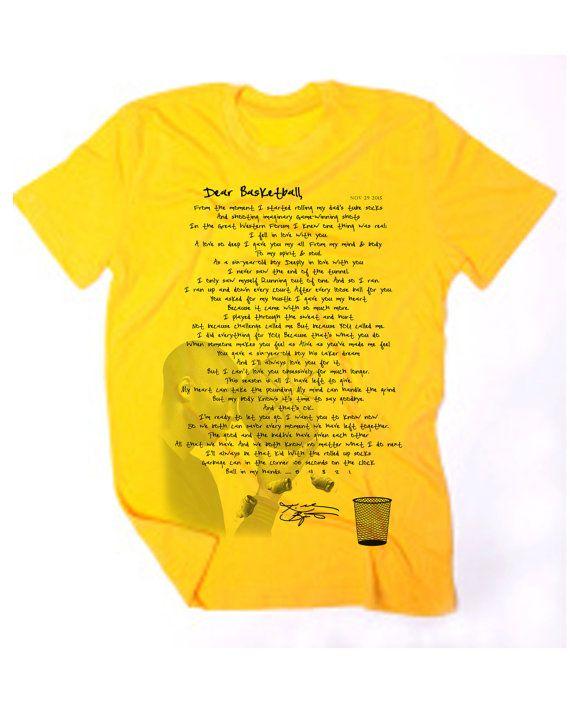 Official Kobe Bryant Retirement Letter T-Shirt The full DEAR - retirement letter