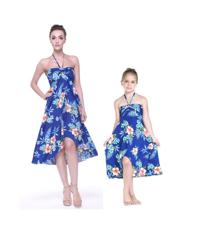 f6489008f204 Matching Mother and Daughter Women and Girl Butterfly Dresses in Hibiscus  Blue
