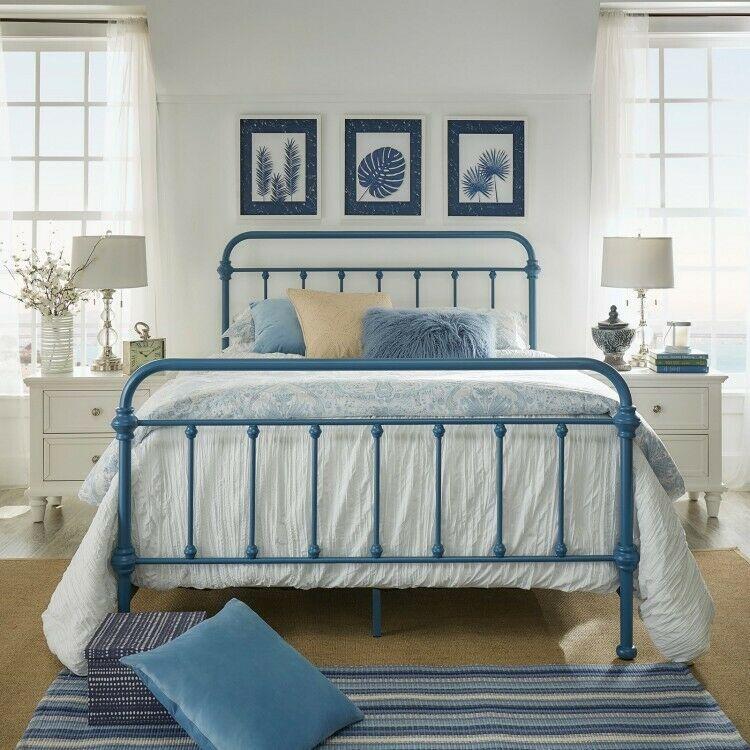 Details About Metal King Bed Blue Bedframe Headboard Footboard
