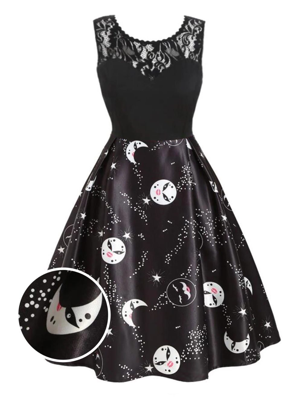 Black 1950s Moon Stars Swing Dress Retro Stage Chic Vintage Dresses And Accessories Lace Dress Vintage Vintage Dresses Casual Dresses