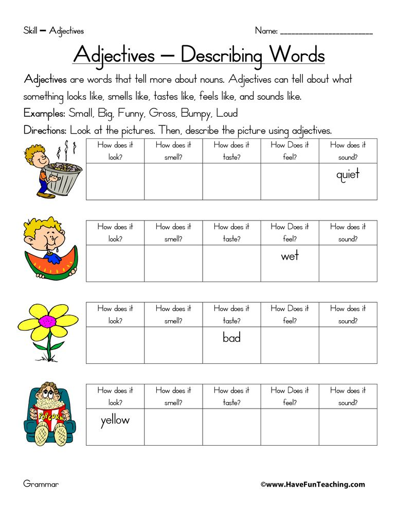Adjective Five Senses Worksheet (With images) Teaching