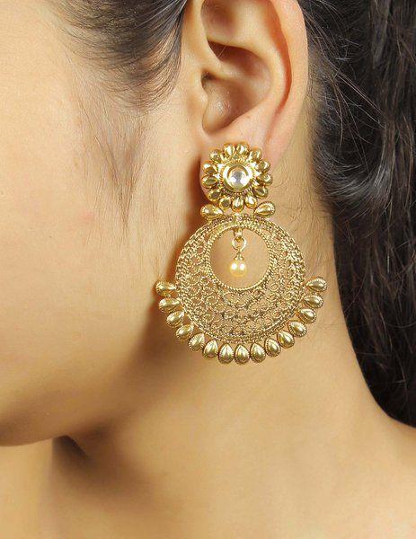 f2baec10e Much More Amazing Style Kundan Stone Polki Indian Earrings Wedding Wear  Jewelry