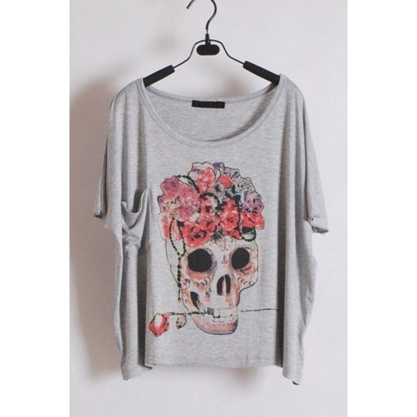 Fashion Skull Print Short Sleeve T-shirt ($31) ❤ liked on Polyvore