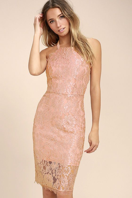 b682f2446323 Your happily ever after starts with the Wishful Wanderings Blush Pink Lace Bodycon  Midi Dress! Stunning blush eyelash lace falls from a high