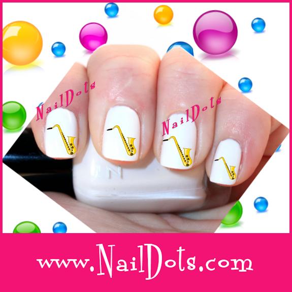 Saxaphone Nail Decals - Nail Dots - Decals for Nails - Cute Nails ...