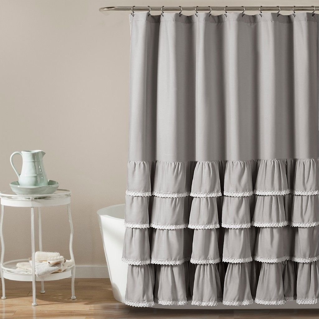 Ella Lace Ruffle Shower Curtain Gray 72x72 Lush Decor 16t002856 In 2020 Ruffle Shower Curtains Lace Shower Curtains Gray Shower Curtains
