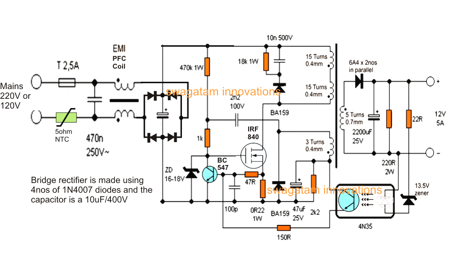 12v 5 Amp Transformerless Battery Charger Circuit Smps Based Battery Charger Circuit Power Supply Circuit Circuit Diagram