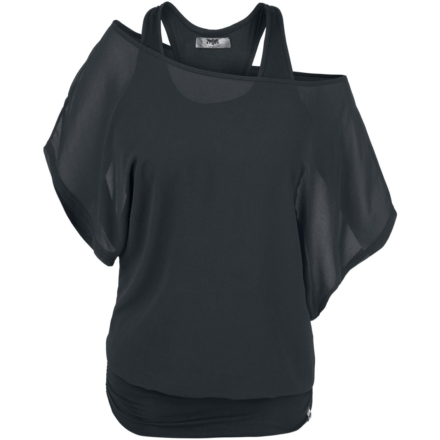 Bat Shirt Double Layer Look Wide Cleavage With By Black Premium Emp A Neckline And Gathered Hem On The Side